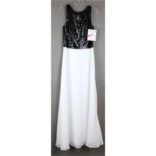 BLACK LACE/ WHITE JS GROUP DESIGNER FORMAL DRESS;