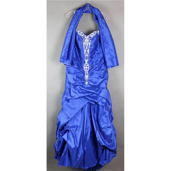 ROYAL BLUE/ SILVER ROMANTIC BRIDALS DESIGNER