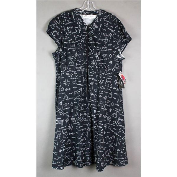 BLACK E=MC2 CHERRY VELVET DESIGNER DRESS; SIZE 2XL