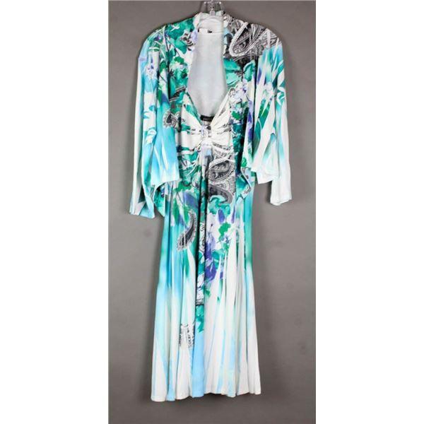 BLUE/ GREEN FLORAL JULIA IMPEX DESIGNER 2PC DRESS