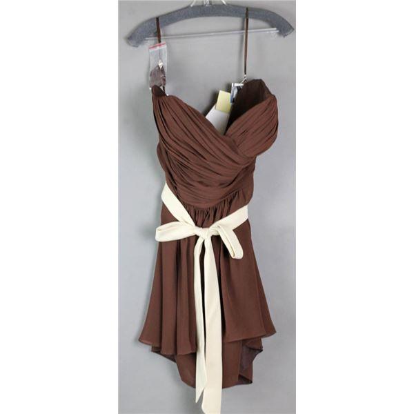 BROWN W/ CREAM SASH VENUS FORMAL DESIGNER DRESS;