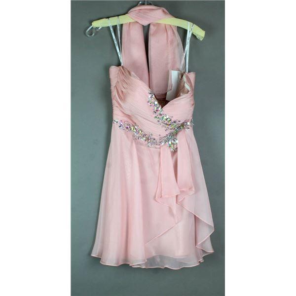 PINK JOLENE ABOVE KNEE FORMAL DESIGNER DRESS;