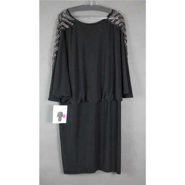 BLACK/ SILVER STONE CARTISE FORMAL DESIGNER DRESS;