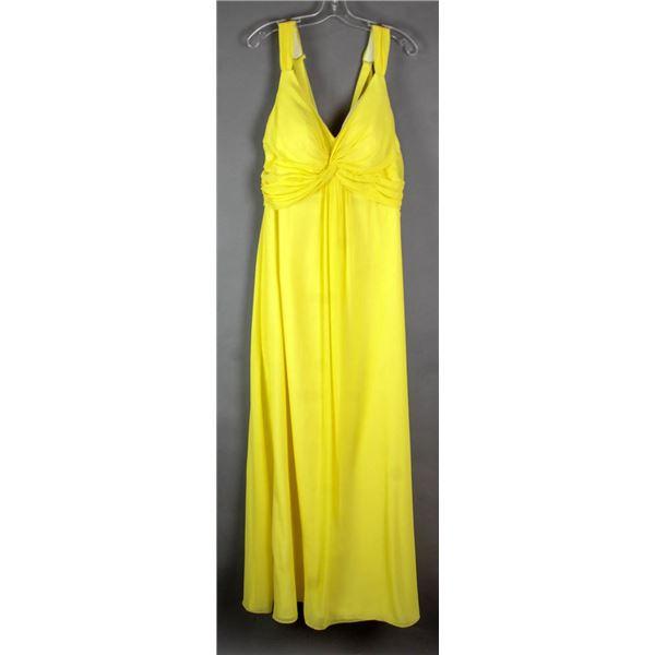 LEMON YELLOW VENUS FORMAL DESIGNER DRESS;