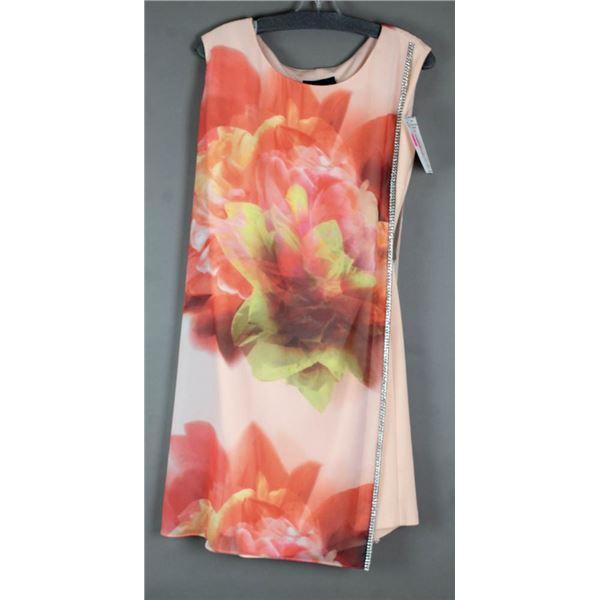 PINK FLORAL FRANK LYMAN FORMAL DESIGNER DRESS;