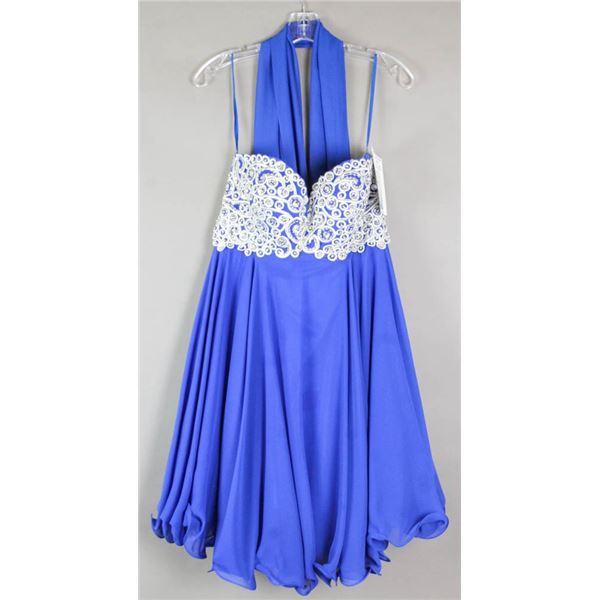 DEEP BLUE JOLENE FORMAL DESIGNER DRESS;