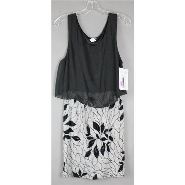BLACK/ GREY DK FASHION FORMAL DESIGNER DRESS;