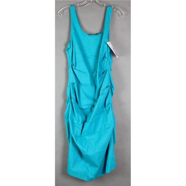 TEAL PAPILLION FORMAL DESIGNER DRESS;