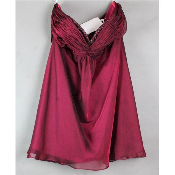 BURGUNDY ALYCE FORMAL DESIGNER DRESS;