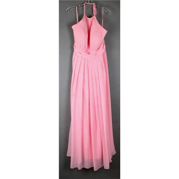 PINK VENUS HALTER STYLE FORMAL DESIGNER DRESS;