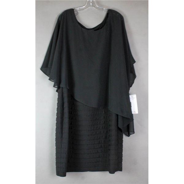 BLACK ADRIANNA PAPELL STYLE FORMAL DESIGNER DRESS;