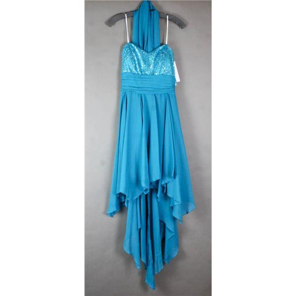 TEAL SEQUENCE STYLE JOLENE FORMAL DESIGNER DRESS