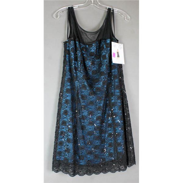 TEAL/ BLACK LACE JOLENE FORMAL DESIGNER DRESS;