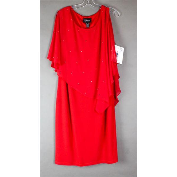 RED FRANK LYMAN FORMAL DESIGNER DRESS;