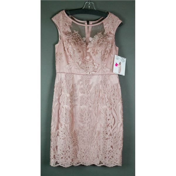 ROSE GOLD JS GROUP FORMAL DESIGNER LACE DRESS;