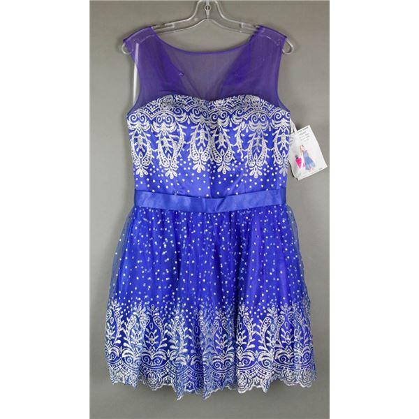 BLUE & SILVER ALYCE FORMAL DESIGNER DRESS;