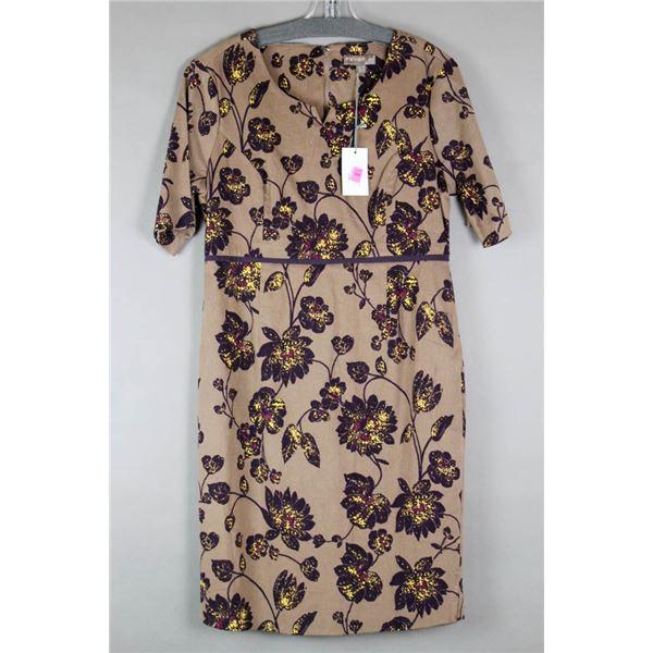 BROWN FLORAL FEVER LONDON DESIGNER DRESS;