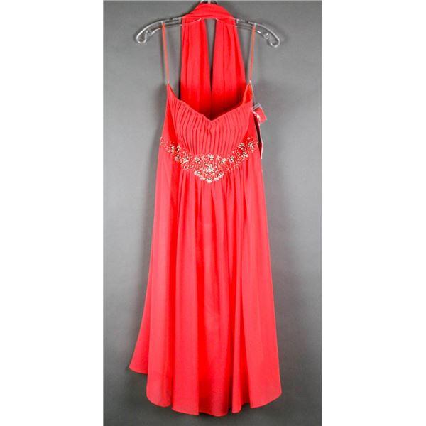 CORAL PINK JOLENE FORMAL DESIGNER DRESS;
