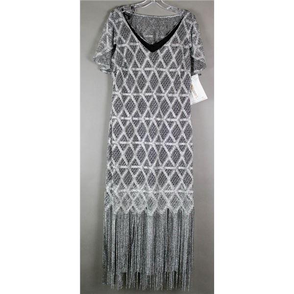 BLACK/ SILVER FRINGE FRANK LYMAN DESIGNER DRESS;
