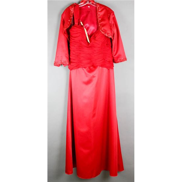 CARDINAL RED ANDY ANAND FORMAL 2PC DESIGNER DRESS