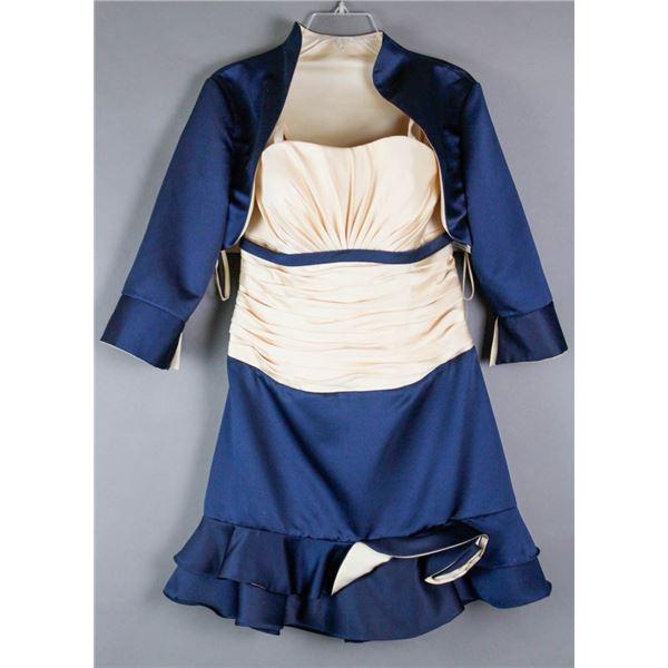 CREAM & NAVY BLUE JOSHUA B FORMAL 2PC DESIGNER