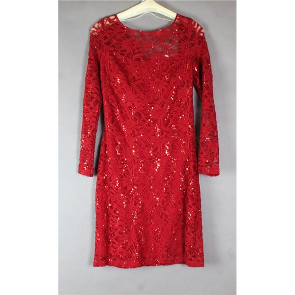RED LACE/ SEQUENCE FORMAL LONG SLEEVE  DESIGNER