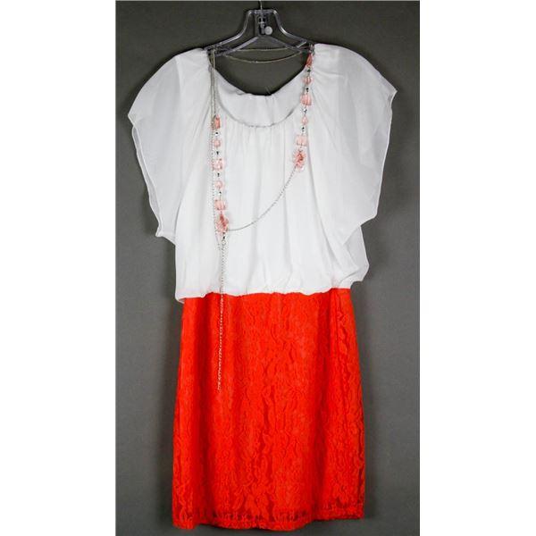 WHITE & RED LACE DK FASHION FORMAL DESIGNER DRESS;