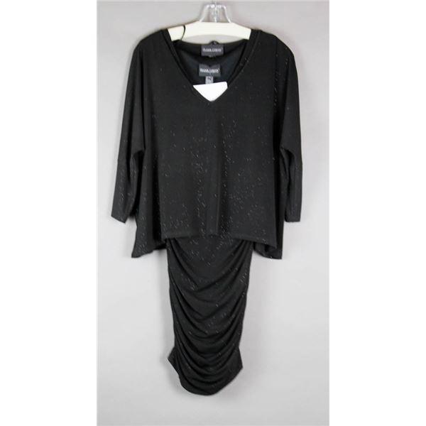 BLACK SHIMMER FRANK LYMAN FORMAL DESIGNER DRESS;