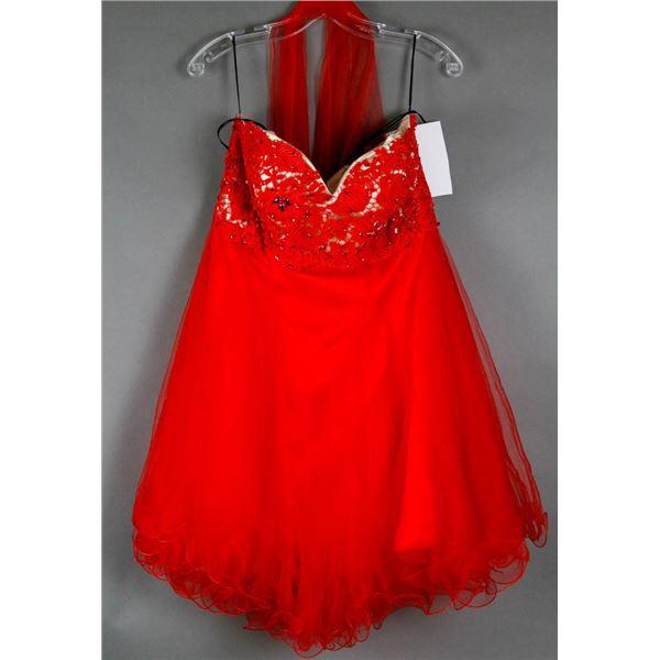RED ALYCE  2PC FORMAL DESIGNER DRESS W/ WRAP;