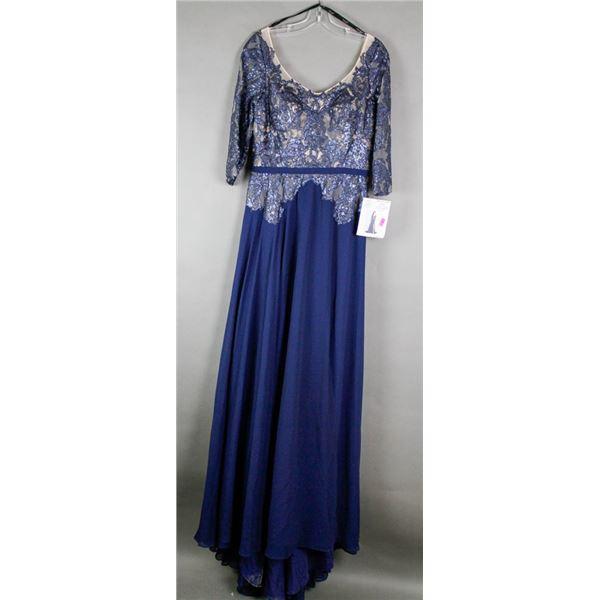 NUDE/ NAVY BLUE LACE TERANI FORMAL DESIGNER DRESS;