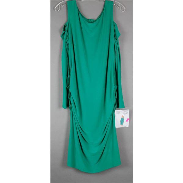 GREEN CARTISE FORMAL DESIGNER DRESS; SIZE 10-