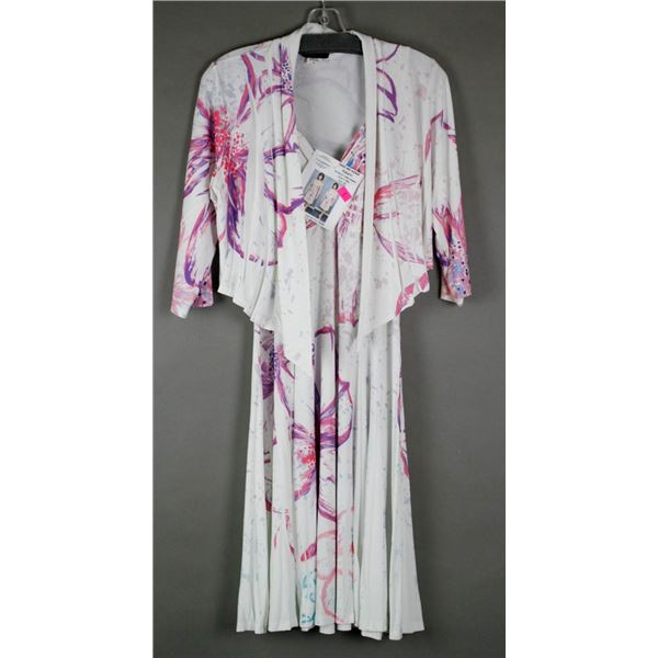 WHITE/ PINK FLORAL JULIA IMPEX DESIGNER DRESS;