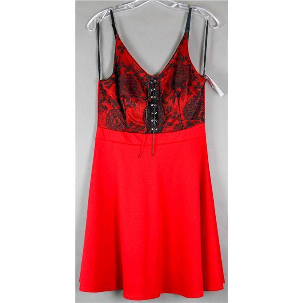 RED W/ BLACK LACE TOP FASHION DRESS;