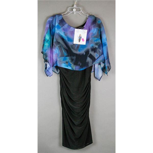 BLUE/ PURPLE/ BLACK FRANK LYMAN DESIGNER DRESS;