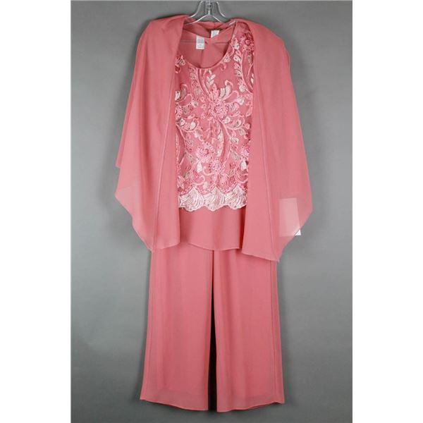 PINK JOLENE 3PC FORMAL DESIGNER DRESS OUTFIT;