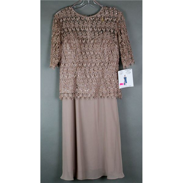 BROWN JOLENE 2PC FORMAL DESIGNER OUTFIT W/ LACE