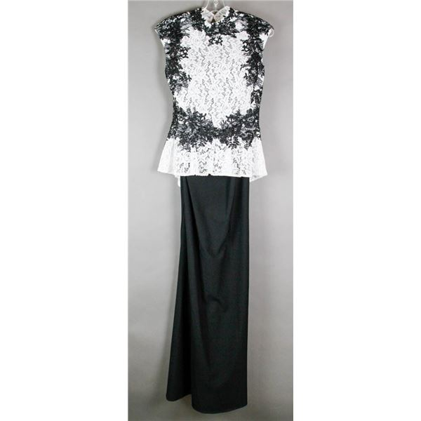 WHITE & BLACK LACE ALYCE FORMAL DESIGNER DRESS;