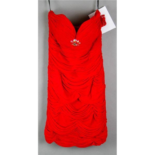 RED ALYCE ABOVE KNEE FORMAL DESIGNER DRESS;