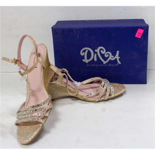 DIVA CHAMPAGNE WEDGE HEEL FORMAL SHOES; SIZE 10M