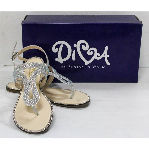 DIVA SILVER FLAT STRAPPED FORMAL SANDALS; SIZE 6M