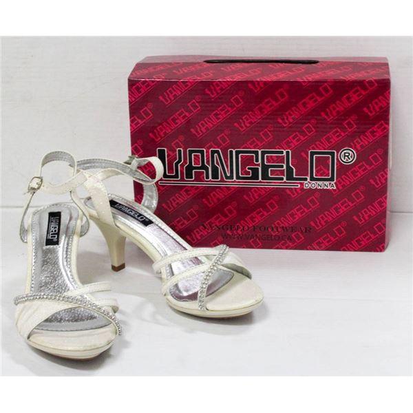VANGELO WHITE/ RHINESTONE STRAPPED FORMAL HEELS;