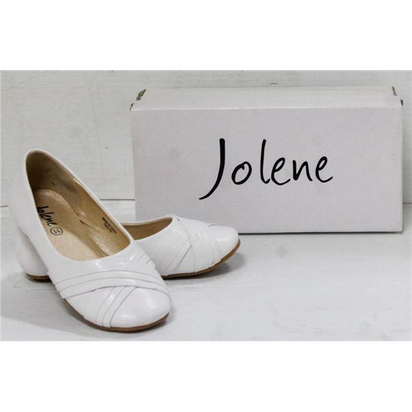 JOLENE WHITE YOUTH SLIDE ON FORMAL SHOES;