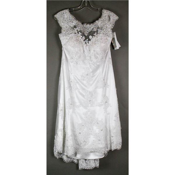 WHITE EMBROIDERED BONNY DESIGNER BRIDAL DRESS;