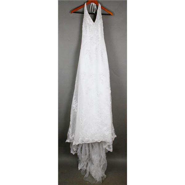 WHITE ALFRED ANGELO DESIGNER BRIDAL GOWN;
