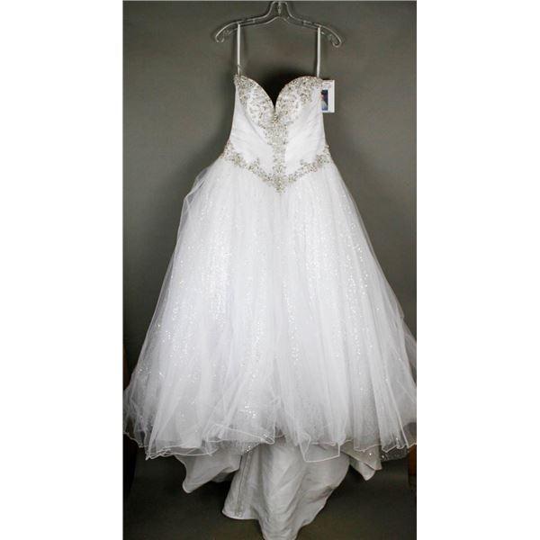 WHITE VENUS DESIGNER BRIDAL GOWN; SIZE 12