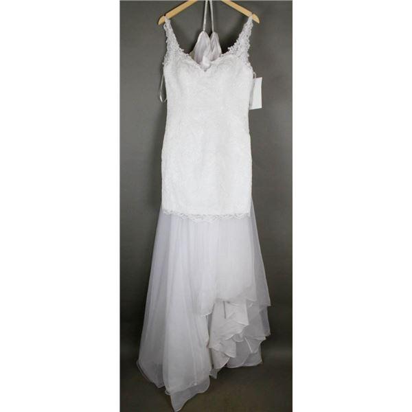 WHITE LACE STELLA YORK DESIGNER BRIDAL GOWN;