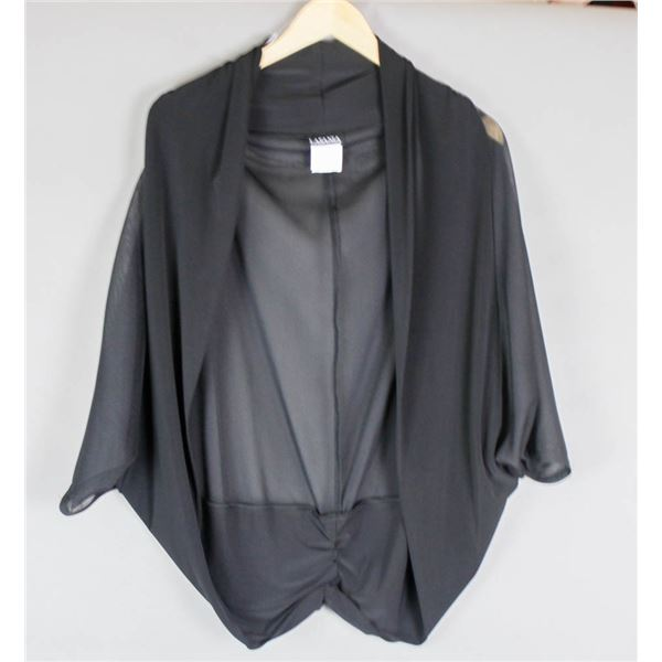 BLACK/ SHEER LASANIA DESIGNER WOMEN'S SHRUG TOP;