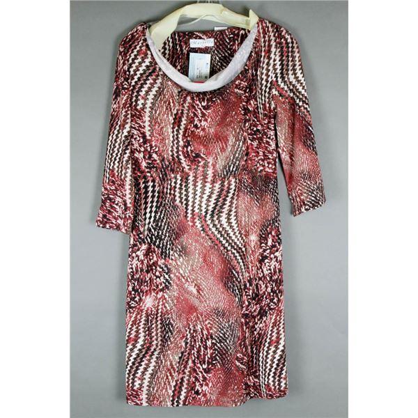 BURGUNDY/ WHITE MARVELLA DESIGNER DRESS; SIZE MED