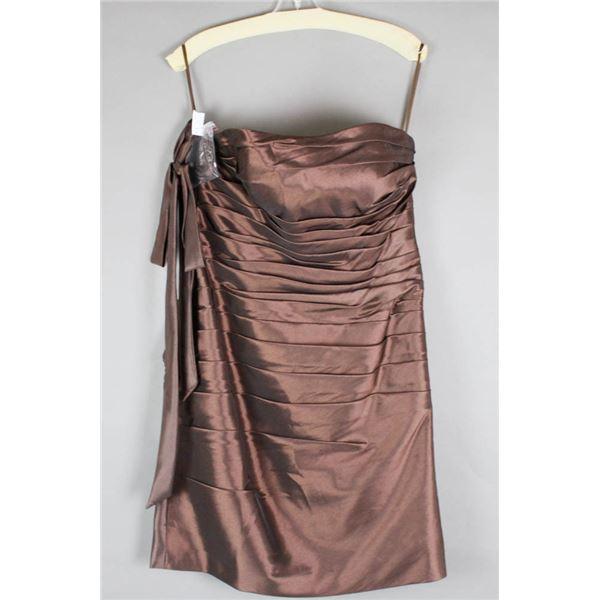 CHOCOLATE BROWN VENUS FORMAL DESIGNER DRESS;