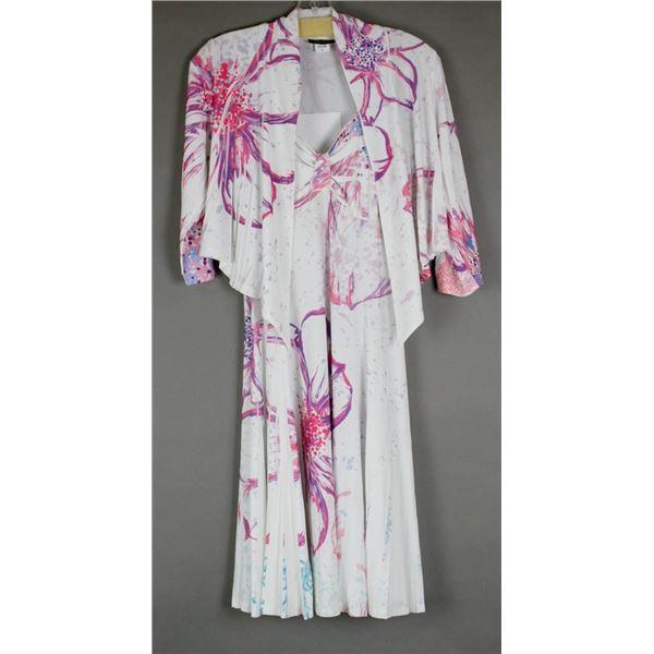 WHITE/ FLORAL JULIA IMPEX DESIGNER 2PC DRESS;